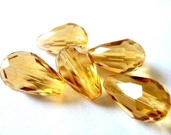 20 Crystal beads faceted honey gold teardrop beads jewelry making supplies 15mm x 10mm HP-E010-(SR)