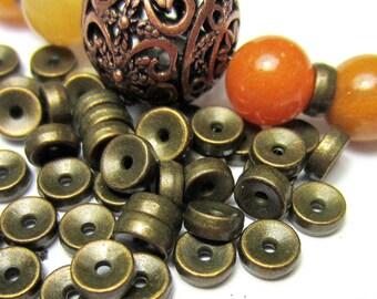 40 Beads antique bronze tibetan spacer beads HP 857 5mm x 2mm (Z1)