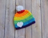 Rainbow Baby Hat, Crochet Baby Beanie, Colorful Baby Hat, Pom Pom Beanie, Knit Baby Clothes