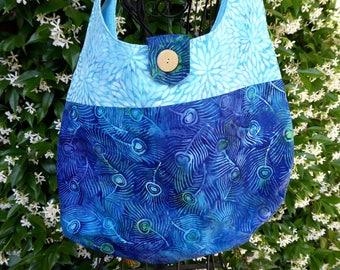 Batik tote bag, shoulder bag, large purse, blue, teal