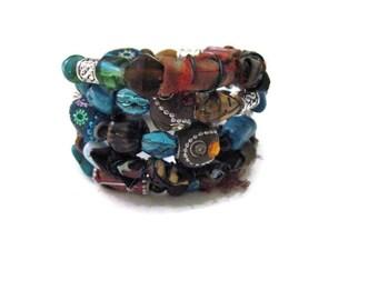 Memory Wire Bracelet Five Stack Hippie Bohemian Gypsy Bangle Bracelet