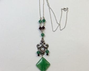 green onyx, swarovski crystal and silver necklace