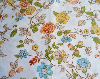 Vintage Bed Sheet - Turquoise Blue and Yellow Vine Flowers - King Flat
