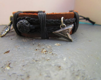Adjustable Aroma Therapy Oil Diffuser Leather Bracelets The Green Arrow charm