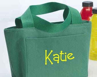 Women Monogram Kelly Green Insulated Lunch Bag Box Cooler Personalized Women's