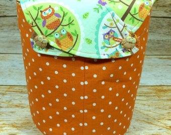 Polka Dot Parliament Of Owls -Small Llayover Knitting Tote/ Knitting, Spinning, Crochet Bag