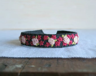Pink Rose Bracelet, Gift For Her, Fabric Cuff Bracelet, Handmade Cuff Bracelet, Pink Black Cuff, Gift Under 50, Boho Gypsy Cuff