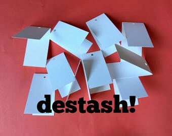 DESTASH Folded White Tags . 100 Mini Price Tags Product Labels Hang Tags 90# Cardstock Etsy Seller Supplies Jewelry Tags Small Tags