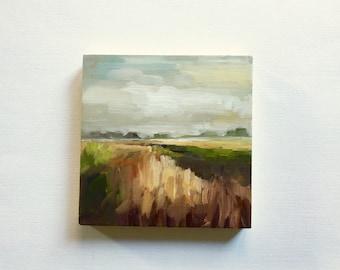 "SALE Foggy Marsh • original oil painting 6x6"""