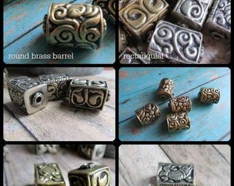 Choice of Brass Barrel Beads, Brass Beads, Beads from Nepal, Handmade Brass Beads, Rectangular Beads, cylindrical beads
