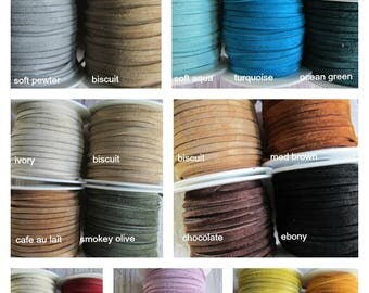 FULL SPOOL Suede, CHOICE of 3mm Suede Lace, Choose Color of Suede lace, Suede Lace, Suede, Leather Lace, Spool of Suede, Spools
