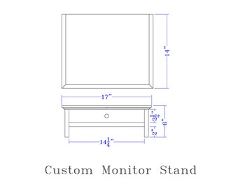 CUSTOM White  Computer Monitor Stand and Desk Organizer with Drawer