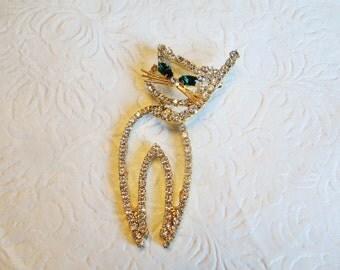 Moving Cat Brooch Crystals