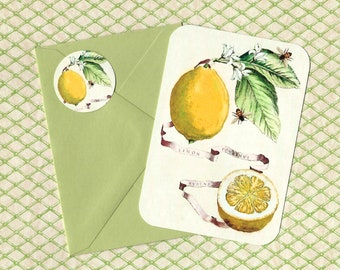 Note Cards, Lemons & Bees, Note Card Set, Orange, Stickers, Botanicals