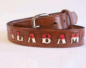Men's Leather Belt - Alabama Crimson Tide College Football Tooled Belt- University of Alabama