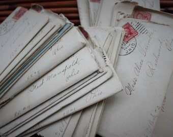 RESERVED // Bundle of Antique Love Letter - 1907 Edwardian Handwritten Courtship - Downton Abbey Romance
