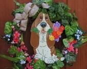 "Hand Painted Basset Hound Wreath - Spring/Summer ""Rose"""
