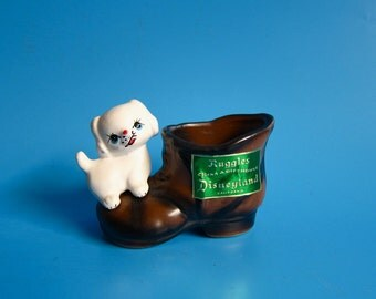 Vintage Ruggles Gift DISNEYLAND Dog on Boot ENESCO Japan toothpick holder puppy kitsch cute retro disneyana