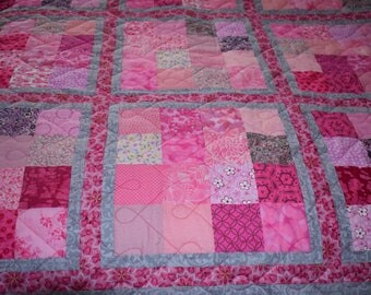 Symphony in Pink and Gray Quilt