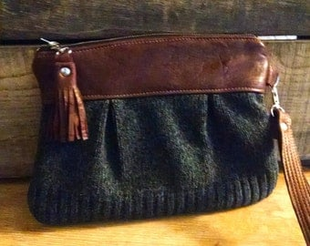 Wristlet/ Pouch/ Clutch in Leather and Upcycled sweater wool fabric leather tassel trim-- Ready to Ship--