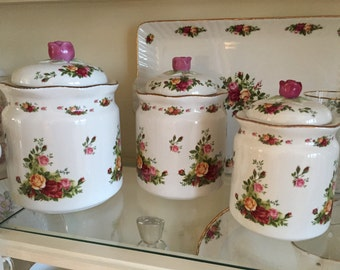 Royal Albert Old Country Roses Canister Set...Set of Three Royal Albert  Burgundy and Yellow Cabbage Roses