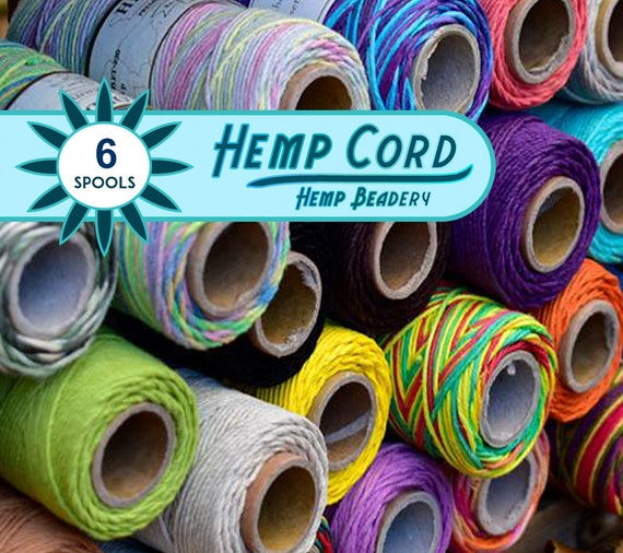 Hemp Cord,  6 Spools, 1mm Bead Cord,  Colored Hemp  Twine,   Choose The Colors, Bulk Hemp Cord