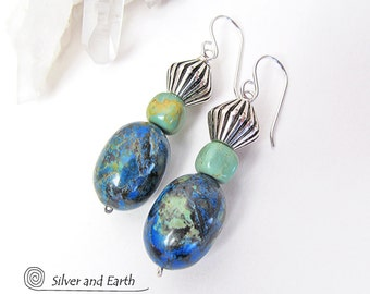 Azurite Malachite Earrings with Genuine Turquoise & Silver Beads, Green Blue Stone Earrings, Natural Stone Jewelry, Beaded Dangle Earrings