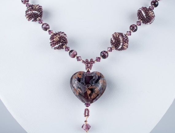 RESERVED - Art-Glass Lampwork Heart Bead Necklace, Valentine's Day, Beaded Beads Beadweaving Necklace , OOAK