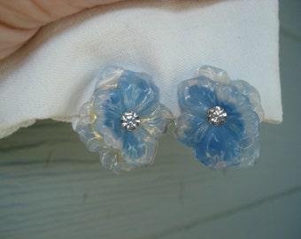 Vintage Czech Luminous Blue Opal Glass Flower Earrings Clip Earrings
