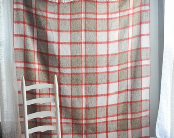 Vintage  Thick Plaid Camp Blanket Off White Blue Red Brawn Plaid Classic Americana with fringe