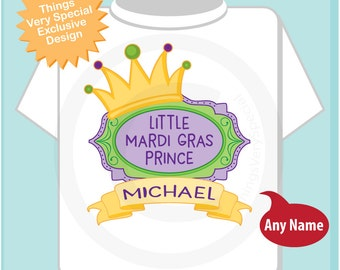 Mardi Gras Prince Shirt or Onesie, Personalized Prince Shirt or Onesie, Prince Shirt for Toddlers and Kids 02202017e