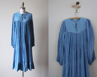 Vintage 70s Indian Cotton Dress - 1970s India Tunic Gauze Cotton Metallic Kaftan Dress w Ties S M - Ice Floe Dress