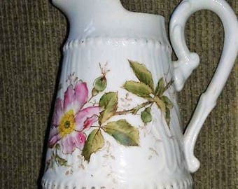 Vintage Little White Pitcher with Dogwood Flowers