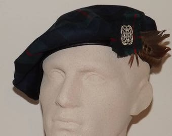 Men's Traditional Scottish Tartan Beret, Tartan Tam with Feathers, Scottish Bonnet