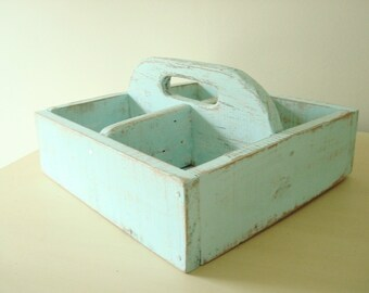 Rustic aqua pallet tote, reclaimed wood tote, aqua tray, distress finish, craft caddy, laundry tote, distressed finish, shabby cottage chic