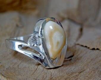 Elk Tooth Ivory Sterling Silver Ring Custom RF997