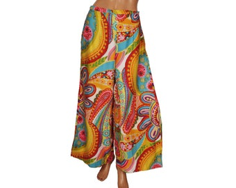 Vintage 1970s Palazzo Pants 1970s Mod Flower Power - Medium