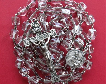Antique Sterling Silver Swift And Fisher Rosary Crystal Beads Sacred Heart Of Jesus, Virginmary Scapular Centerpiece