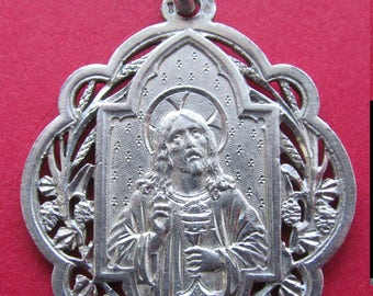 Antique French Silver Jesus Ornate Eucharistic Religious Medal Communion Pendant Dated 1891  SS346