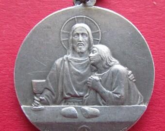 Antique Jesus Religious Medal French Silver Catholic Communion Pendant Signed Penin  SS58