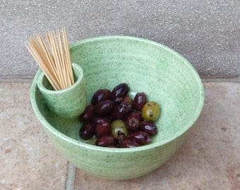 Olive serving dish hors d'oeuvres bowl hand thrown pottery ceramic