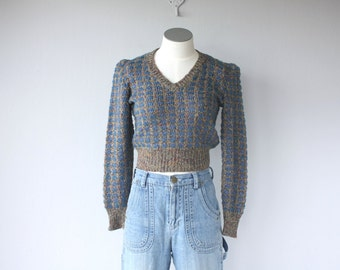 Vintage 1970s Krizia Sweater   Cropped Sweater   70s Knit Sweater   80s Krizia Sweater
