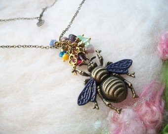 Bee Necklace Bee Jewelry Bronze Bee Charm Steampunk Boho Honey Bee Necklace Colorful Flower Glass Beads