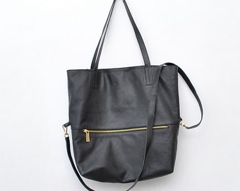 Women leather bag  Leather Cross body bag  Leather shoulder hobo bag Black leather bag market bag library bag ladies black leather bag