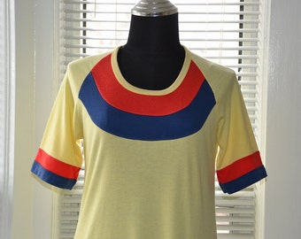 Vintage T-shirt Nightgown - 70s Slumber Party - Red Blue & Yellow - Jersey Knit - s/m