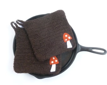 Pot holders felted wool pot holders mushroom design set of two