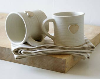 Set of two heart mugs glazed in vanilla cream - hand thrown stoneware pottery