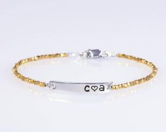 Sterling silver Faceted beads Name Bracelet, Personalized bar bracelet, Love Gift, Dainty Name Plate Bracelet,Custom bracelet.Beaded 3 golds