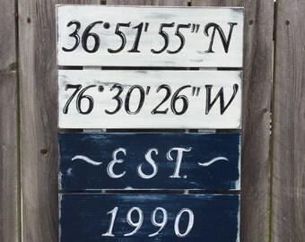 Latitude Longitude Custom Pallet Sign Nautical Beach House Decor Gift