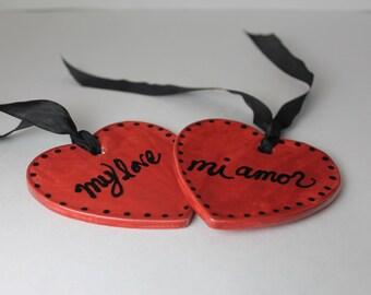 My Love Mi Amor - red ceramic Valentine ornament